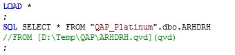 QlikView code snippet for raw data extration