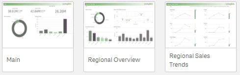 Qlik Sense Branding - Screenshot representing the replacement screen icons from our Published Stream